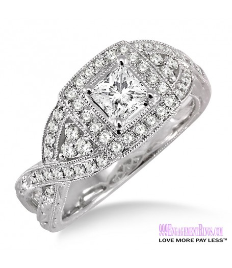 Diamond Engagement Ring LM-1134-WG 7/8 Carat