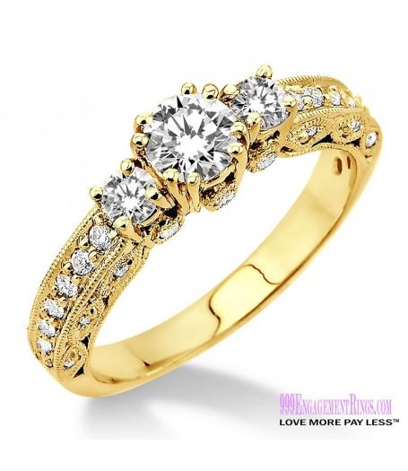 Diamond Engagement Ring LM-1135-YG 7/8 Carat