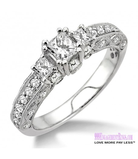 Diamond Engagement Ring LM-1136-WG 7/8 Carat