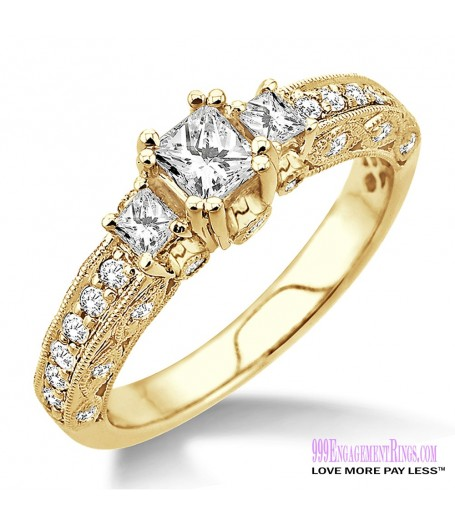 Diamond Engagement Ring LM-1136-YG 7/8 Carat