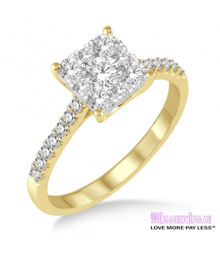 Diamond Engagement Ring LM-1102-YG 3/4 Carat