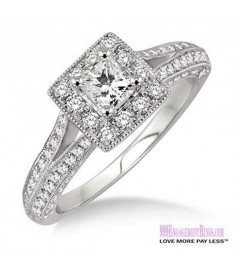 Diamond Engagement Ring LM-1130-WG 7/8 Carat